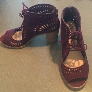 Maroon heeled booties